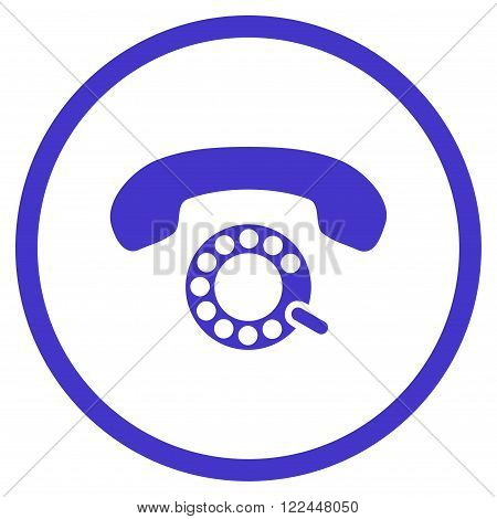 Pulse Dialing vector icon. Picture style is flat pulse dialing rounded icon drawn with violet color on a white background.