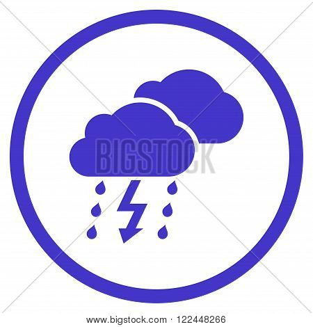 Thunderstorm vector icon. Picture style is flat thunderstorm rounded icon drawn with violet color on a white background.