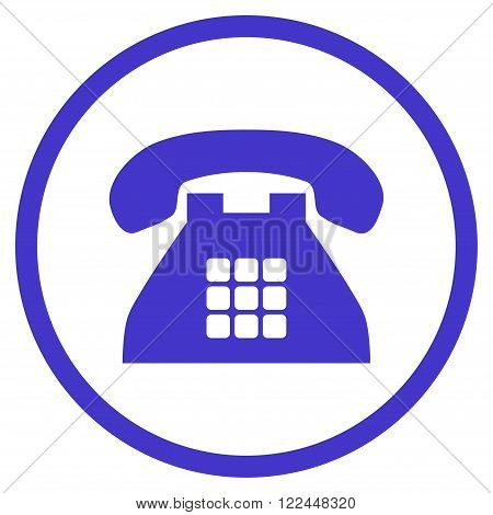 Tone Telephone vector icon. Picture style is flat tone phone rounded icon drawn with violet color on a white background.