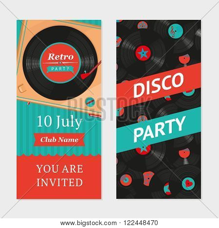 Retro party background with vinyl turntable an pattern.  Invitation template.
