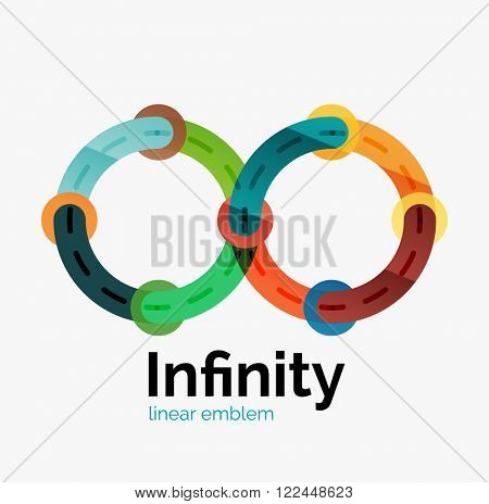 Vector infinity logo, flat geometric colorful design of lines
