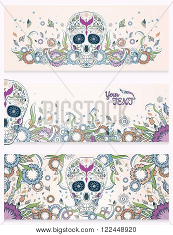 Banners of Dia de Muertos traditional mexican sugar skull with ornate on an abstract floral spring background. Illustration with lots of ornates and Phoenix in very colors. design for Day of The Dead.