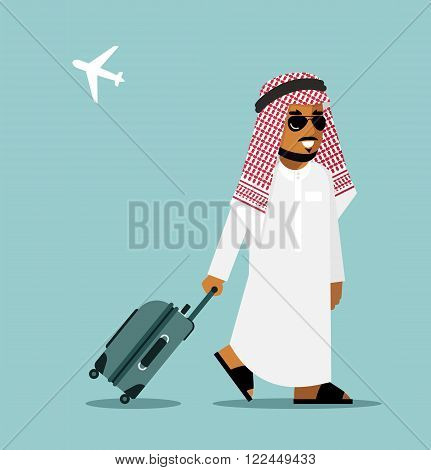 Young saudi arabic man in traditional clothes walking with suitcase on airport background