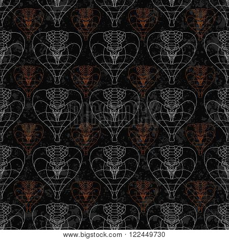 seamless pattern of abstract cobras painted on grunge stone wall background with flame sparks and ash. Abstract hunting snake shapes with unfilled outlines in gray color.