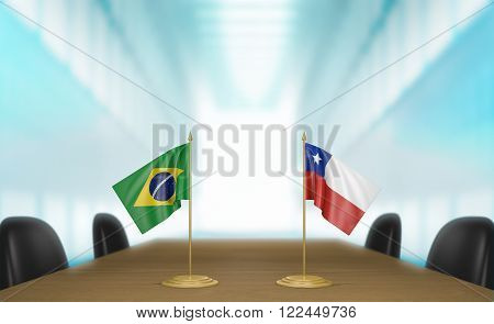 Brazil and Chile relations and trade deal talks 3D rendering