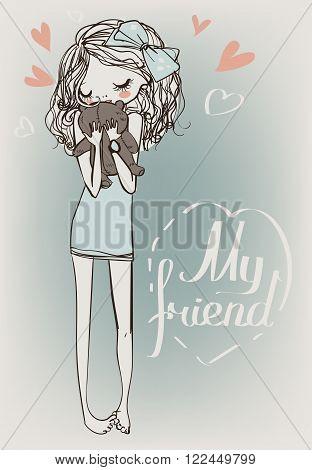 cute cartoon blonde girl with teddi bear