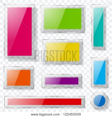 Glass Plates Of Different Colors With Transparent Edges. Transparency Only In Vector Format