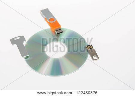 Collection of computer data storage devices: usb memory stick and cd