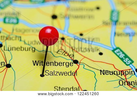 Photo of pinned Salzwedel on a map of Germany. May be used as illustration for traveling theme.