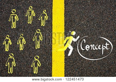 Male Symbol Running Accross The Line To Concept