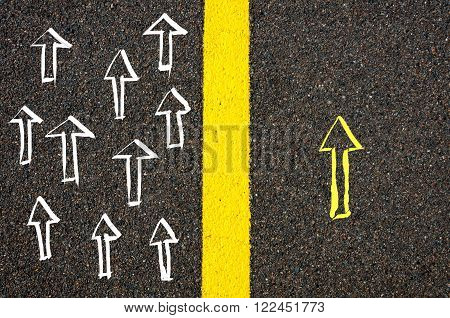 Concept Image With Road Marking Yellow Line