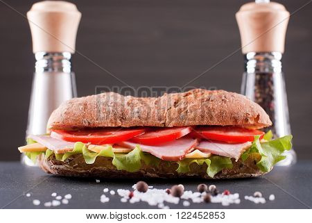 sandwich baguette on table with salt and pepper