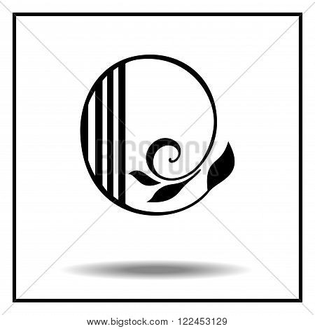 o. Letter o with leaves. Vector illustration