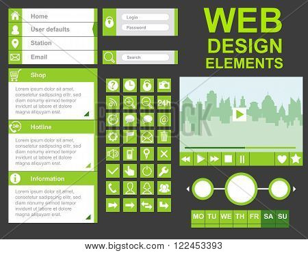 Web set for homepage, website with buttons
