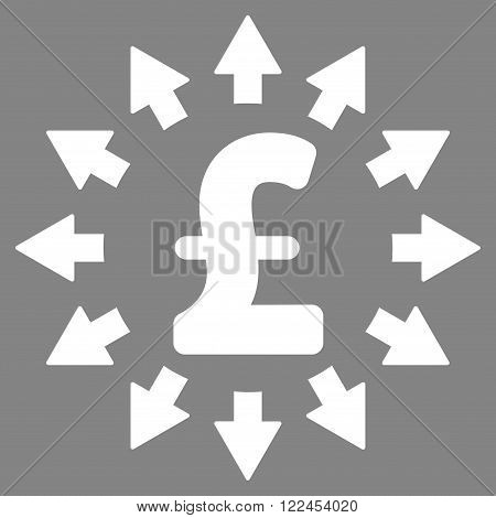 Pound Distribution vector icon. Pound Distribution icon symbol. Pound Distribution icon image. Pound Distribution icon picture. Pound Distribution pictogram. Flat pound distribution icon.