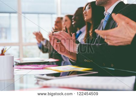 Business applause. group of business people making an ovation