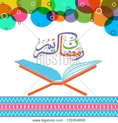 Open Islamic religious book Quran Shareef with colourful Arabic Calligraphy text Ramadan Kareem for Holy Month of Prayers celebration.