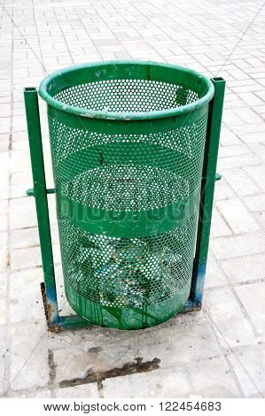 Outdoor bin for garbage in green color