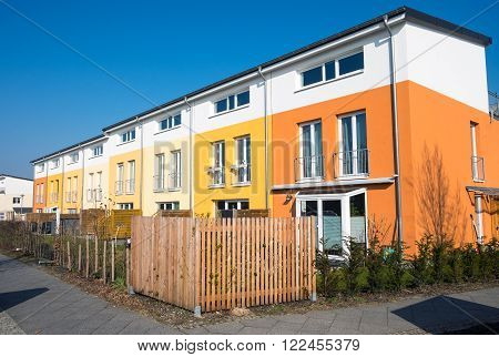 Colorful serial housing seen in Berlin, Germany