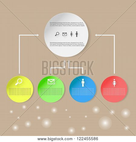 Infographic with circles, search mail, man, woman and bokeh