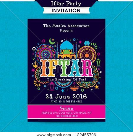 Colourful floral design decorated, Invitation Card for Ramadan Kareem, Iftar Party celebration.