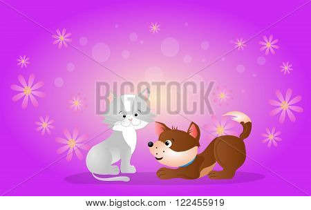 Cute illustration of cat and dog on purple background