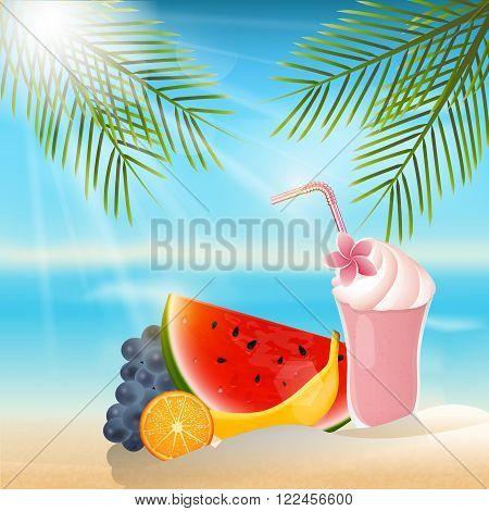 Summer fruits and milkshake  background.Orange,banana,grapes and watermelon.