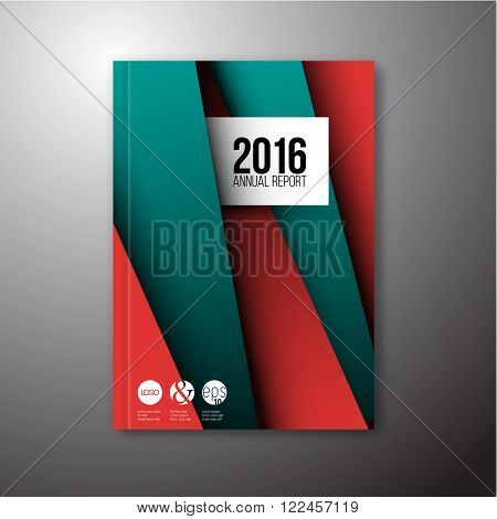 Modern Vector abstract brochure / book / flyer design template with teal and red paper