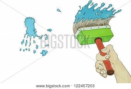 cartoon illustration of a Paintbrush and blue stain