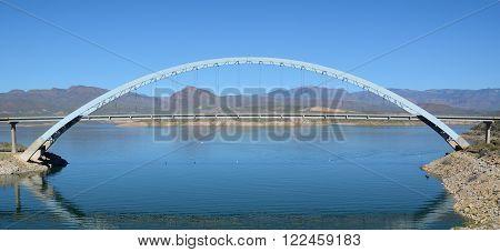 Roosevelt Lake Bridge in Arizona on a Sunny Day