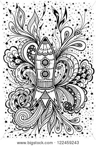 Zen-doodle or  Zen-tangle racket in space black on white  for coloring page or relax coloring book or wallpaper or for decorate package clothes  or different things or for celebrate cosmonautics day