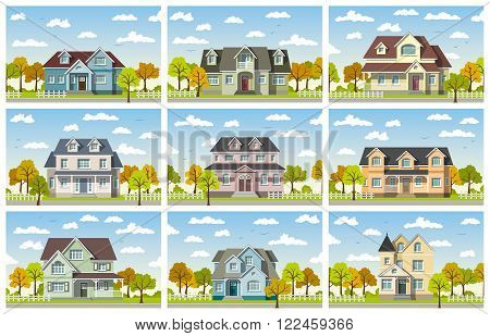 set with nine classic houses in autumn
