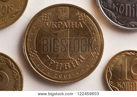 The coin - one Ukrainian hryvnia. Money closeup