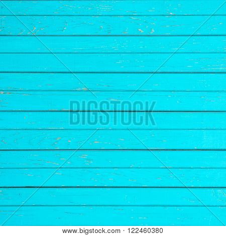 turquoise background texture of horizontal wooden slats. square photo with copy space for text