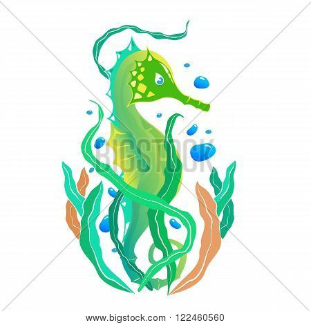 illustration of a green seahorse tattoo with kelp