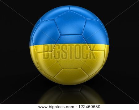 Soccer football with Ukrainian flag. Image with clipping path
