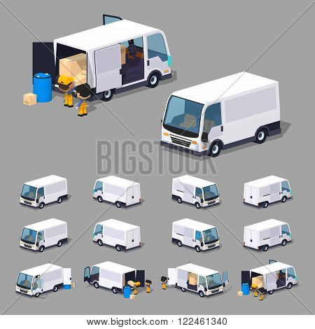 White van. 3D lowpoly isometric vector illustration. The set of objects isolated against the grey background and shown from different sides