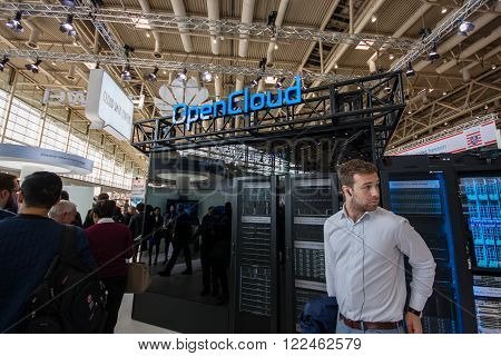 HANNOVER GERMANY - MARCH 14 2016: OpenCloud stand in booth of Huawei company at CeBIT information technology trade show in Hannover Germany on March 14 2016.