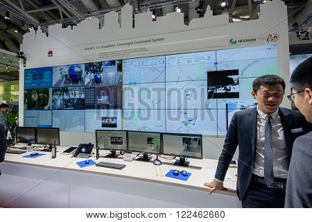 HANNOVER GERMANY - MARCH 14 2016: Booth of Huawei company at CeBIT information technology trade show in Hannover Germany on March 14 2016.