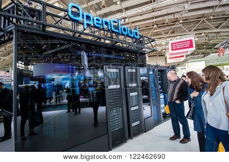 HANNOVER, GERMANY - MARCH 14, 2016: OpenCloud stand in booth of Huawei company at CeBIT information technology trade show in Hannover, Germany on March 14, 2016.