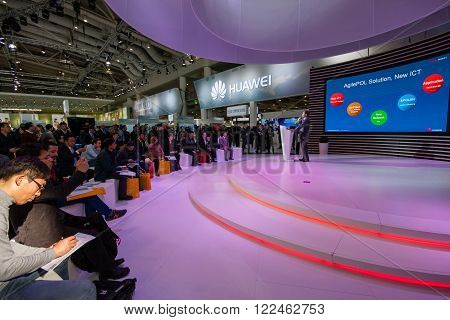 HANNOVER, GERMANY - MARCH 14, 2016: Presentation of Huawei product line president Jeff Wang in booth of Huawei company at CeBIT information technology trade show in Hannover, Germany on March 14, 2016