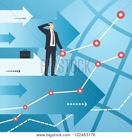 Businessman and graphs with growing financial indicators. Business concept of success, ambitions, searching, economic, growth, development, strategy, development, opportunities.
