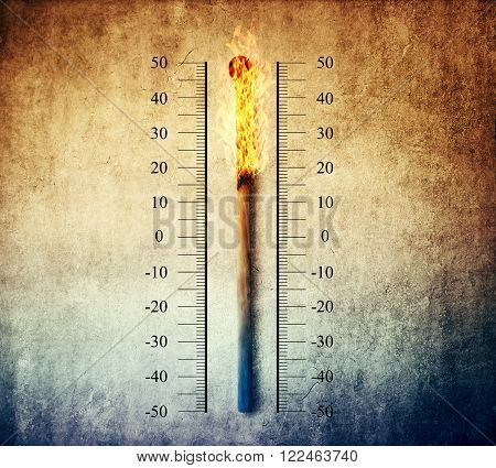 Burned match indicating temperature on a scale as a thermometer. Global warming and temperature rising concept