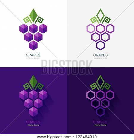 Set Of Vector Grapes Logo, Icon, Label Elements.