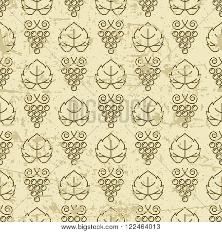 Vector Seamless Pattern With Outline Vine Grape And Grape Leaves.
