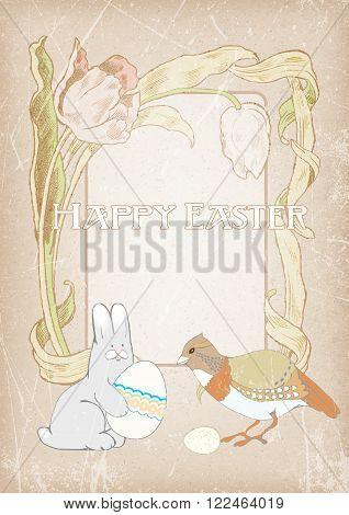 postcard Happy Easter. floral frame rabbit with egg partridge