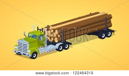 Log truck with the pile of logs against the yellow background. 3D lowpoly isometric vector illustration