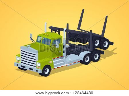 Folded log truck against the yellow background. 3D lowpoly isometric vector illustration