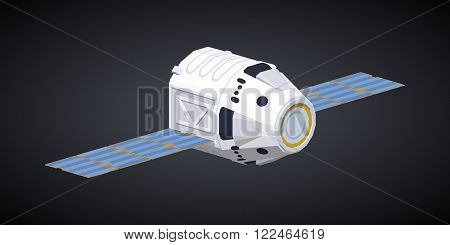 Modern reusable spaceship against the black background. 3D lowpoly isometric vector illustration