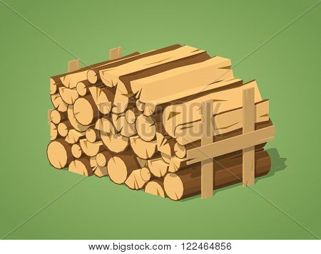 Firewood stacked in piles against the green background. 3D lowpoly isometric vector illustration